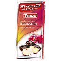 Черный шоколад с Яблоком, без сахара, Torras