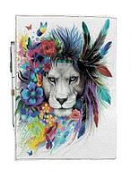 Блокнот на резинке Rainbow Лев в цветах