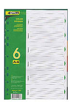Розділювачі кольорові 4Office, 4-253, А4, 6 штук