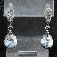 Кахолонг, Ø10 мм., серебро, серьги, 183СРК