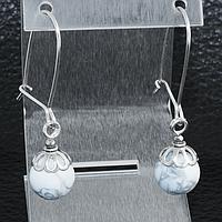 Кахолонг, Ø10 мм., серебро, серьги, 184СРК