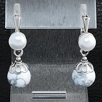 Кахолонг и жемчуг, серебро, серьги, 185СРК