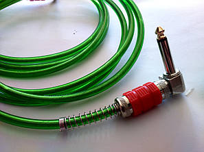 Гитарный шнур - Jack 6.3 (угловые) - прозрачный с ярко зеленым оттенком и красным корпусом штекера, фото 2