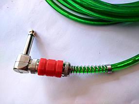 Гитарный шнур - Jack 6.3 (угловые) - прозрачный с ярко зеленым оттенком и красным корпусом штекера, фото 3