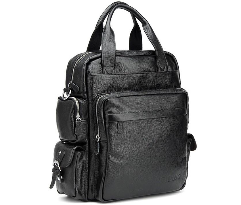 Рюкзак кожаный TIDING BAG T3069 черный