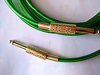 Гитарный шнур - прозрачный с зеленым оттенком - золотой Jack 6.3 с пружиной (моно) 1.8 метра