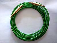 Гитарный шнур - прозрачный с зеленым оттенком - золотой Jack 6.3 с пружиной (моно) 3 метра