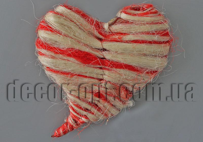 Сердце бело-красное из сизали 26х30см YM10418