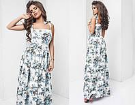 Белое льняное платье в красивые голубые цветы