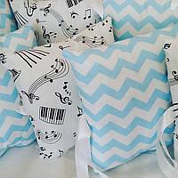 Бортики-защита в детскую кроватку с нежной расцветкой, фото 1