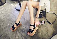 Женские кожаные сандалии на высокой платформе