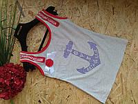 Майка из хлопка Морские якоря 13107 серый