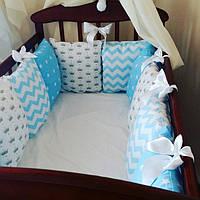 Бортики-защита в детскую кроватку с атласными лентами
