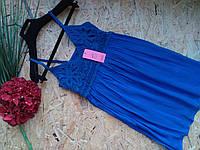 Блузка Туника из хлопка Женя 13450  электрик 42-46р