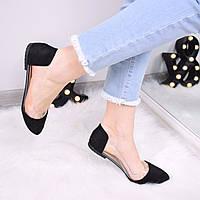 Балетки женские Vendy черная замша 3350, обувь женская