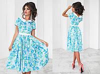 Летнее модное голубое платье с отложным воротником
