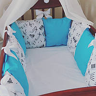 Бортики-защита в детскую кроватку: 100% хлопок, фото 1