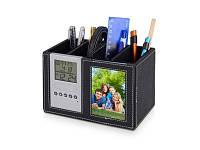 Подставка под ручки с часами, датой, термометром и рамкой для фотографии 6х9 см