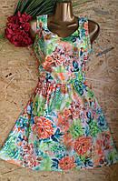 Платье Цветы сакуры  B132 салатовый 46-48р