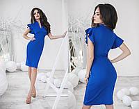 Красивое синее короткое вечернее платье