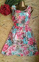Платье Цветы сакуры  B132 бирюза 46-48р