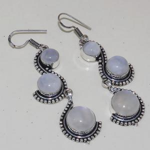 Серьги с лунным камнем. Красивейшие серьги с природным лунным камнем в серебре. Индия!