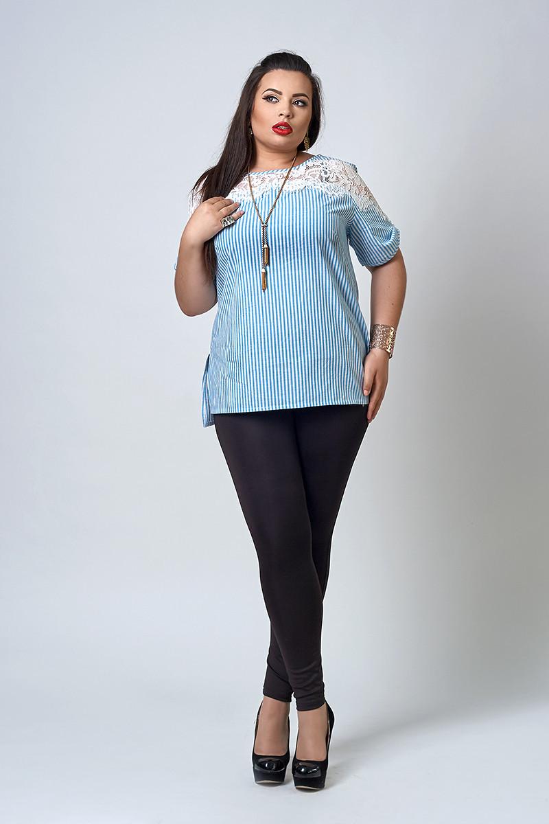 Женская летняя блуза Ангелина в голубую полоску