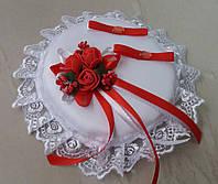 Свадебная круглая подушка под кольца № 1 (красная)