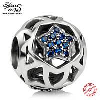 """Серебряная подвеска-шарм Пандора (Pandora) """"Синяя звезда"""" для браслета"""