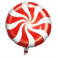 Фольгований круглий куля льодяник карамель червона 45см.