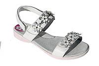 Детские летние беленькие босоножки р.28,29,32 для девочек с ортопедической кожаной стелькой на липучках