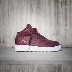 Женские Высокие Кроссовки  Nike NikeLab Air Force 1 PRM Maroon Бордовые