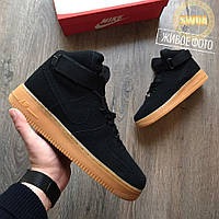 Женские Высокие Кроссовки  Nike Air Force 1 High Black/Gum Suede Черные