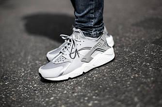 Женские Кроссовки  Nike Air Huarache Womens Wolf Grey White Серые