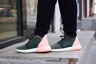 Женские Кроссовки Adidas Originals Tubular Defiant Зеленые с Персиковым