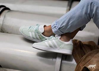 Женские Кроссовки Adidas Gazelle (Ice Mint / White / Gold Metallic) Мятные