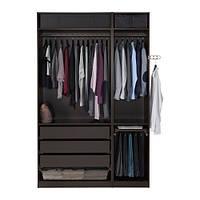 """IKEA """"ПАКС"""" Шкаф платяной,черно-коричневый, ФЭВИК черно-коричневый, матовое стекло, 150x60x236  см"""