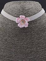 Розовый чокер женский с цветком