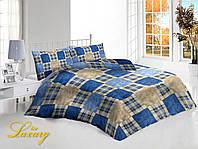 Двуспальный набор постельного белья «Шотландка» простынь на резинке 160х200, 70х70