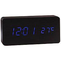 Купить оптом Электронные настольные часы под дерево 1299 (подсветка: синяя)