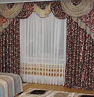Шторы в зал спальню готовые №243 3,5м бордовый