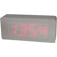 Электронные настольные часы под дерево 1292 (подсветка: красный)