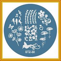 Диск для Стемпинга Металлический Круглый STZ-30 Птицы и Цветы для Ногтей