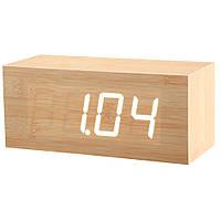 Купить оптом Электронные настольные часы под дерево 1298 (подсветка: зелёный)