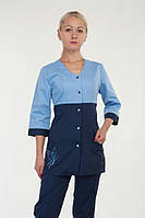 Котоновый женский медицинский костюм сине-голубого цвета