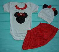 Набор Минни: юбка, боди, шапка с ушками