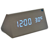 Купить оптом Электронные настольные часы под дерево 1301 (подсветка: синий)