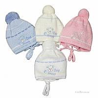 Демисезонная шапка для новорожденного Украина Happy_dog р.40 молочный