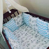 Комплект бортиков в детскую кроватку: 12 подушечек + простынка на резинке, фото 1