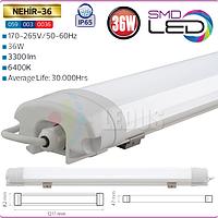 Светодиодный пылевлагозащищенный LED светильник IP65 36W 1200 мм 6400K (NEHIR-36)